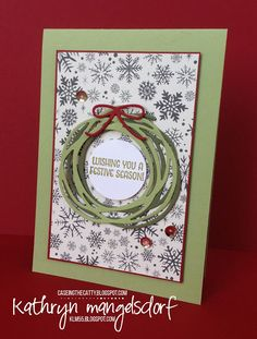 Stampin' Up! Swirly Scribbles Thinlits Christmas Card created by Kathryn Mangelsdorf
