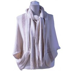 Women Knit Cape with Scarf Ivory with Pewter Stripes One Size Fits Most NWT NEW #Simi #Cape #Everyday