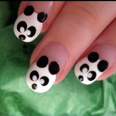 Panda nails.  I did mine with Shellac and a pink background super cute.