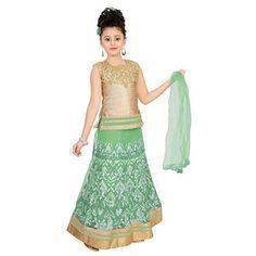 Saarah Green Designer Lehenga Choli Set (EMP3343) - http://www.zazva.com/shop/kids-clothing-accesories/saarah-green-designer-lehenga-choli-set-emp3343/ Material : Net Color : Green Neck Style : Round Neck