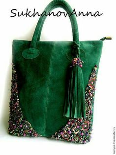 Ribbon Embroidery Ideas Like the idea of green velvet with embroidery on the corners. Embroidery Bags, Beaded Embroidery, Crochet Purses, Crochet Bags, Buy Bags, How To Make Handbags, Beaded Bags, Denim Bag, Fabric Bags