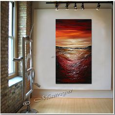 LARGE ARTWORK ABSTRACT paintings red abstract Modern Art Original Contemporary Art Deco Oversize canvas large artwork made2order