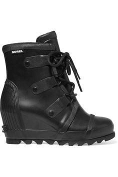 Sorel - Joan Rain Waterproof Rubber Wedge Boots - Black - US10.5