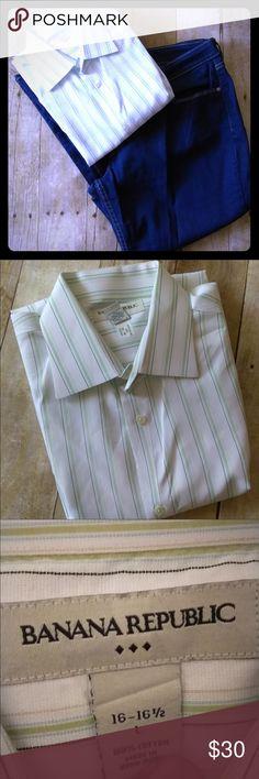 *HOST PICK* Banana Republic Stripe 100% Cotton Top Collar top. 16-16 1/2=large. Made in Hong Kong. Like new condition. Banana Republic Shirts Casual Button Down Shirts