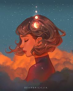 Beyond The Clouds, Karmen Loh, Digital, 2020 Art Inspo, Kunst Inspo, Inspiration Art, Art Anime Fille, Anime Art Girl, Pretty Art, Cute Art, Art And Illustration, Fantasy Kunst