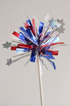 Patriotic Cupcake Toppers - Red White and Blue Toppers - Fourth of July - Tinsel Toppers