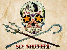 SEA SHEPHERD (SUGAR SKULL) by:Alejandra L Manriquez. #tattoo #calaveritadeazucar