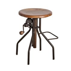 A unique spin on today's adjustable-height stools and chairs, this seat's height adjusts the old-timey way with a hand crank. A metal base and reclaimed teak seat make it look like it came straight from another era.