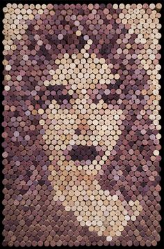 """U. Glued wine cork on wood. 24""""x36"""". See more at www.artfromthewinecellar.com."""