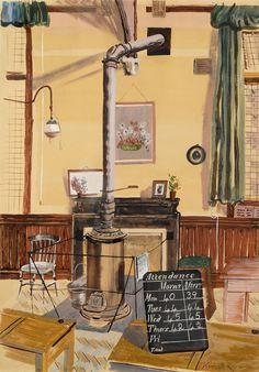 The Schoolroom by Kenneth Rowntree (1915–1997). Watercolour, 49 x 34 cm www.mooregwynfineart.co.uk