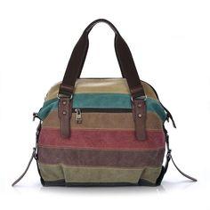 Women's Vintage Canvas Color Strip Splicing Handbag Shoulder Bag Canvas Hobo Messenger Backpack Bookbag Online with $50.79/Piece on Ouovo's Store | DHgate.com