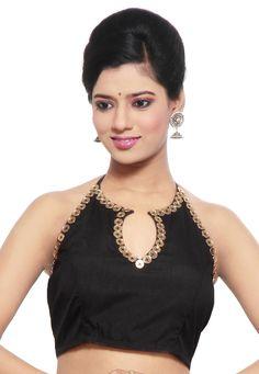 Readymade Saree Blouse Designs Online: Buy Fancy Blouses at Utsav Fashion Black Saree Blouse, Indian Blouse, Lehenga Blouse, Blue Blouse, Simple Blouse Designs, Dress Neck Designs, Cotton Saree Blouse Designs, Designer Blouses Online, Designer Blouse Patterns
