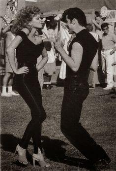 """John Travolta & Olivia Newton John rehearsing for """"GREASE"""""""