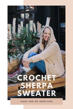 Sherpa Crochet Sweater Jacket – Free Pattern Part 2 – Tunisian Crochet İdeas. Make Do, Make And Do Crew, Tunisian Crochet Patterns, Crochet Bear Patterns, Sherpa Sweater, Sweater Jacket, Free Crochet, Knit Crochet, How To Fold Sleeves