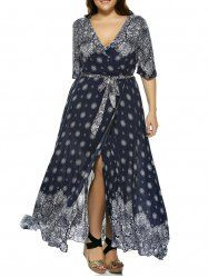 Oversized Bohemian Plunge Neck Bandanna Print Wrap Maxi Dress (DEEP BLUE,2XL)   Sammydress.com Mobile
