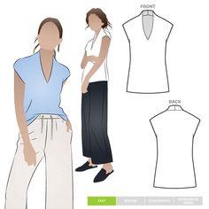 Como Knit Top Style Arc Sewing Pattern 025. T Shirt Sewing Pattern, Pdf Sewing Patterns, Top Pattern, Print Patterns, Free Pattern, Copy Print, Dressmaking Fabric, Fashion Branding, V Neck Tops