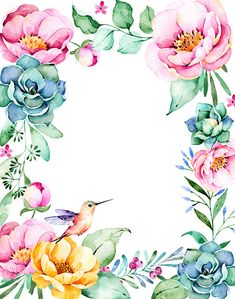 Watercolor frame border with roses,foliage,succulent plant - Royalty-free Flower Stock Photo Watercolor Border, Watercolor Flowers, Watercolor Paintings, Flower Frame, Flower Art, Frida Art, Decoupage Vintage, Borders And Frames, Planting Succulents