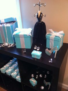 Tiffany and Co themed Centerpiece-large Tiffany Box with pearls and Diamond stone accents Tiffany Theme, Tiffany Party, Tiffany Box, Tiffany And Co, Blue Centerpieces, Bridal Shower Centerpieces, Bridal Shower Favors, Bridal Shower Invitations, Pearl Bridal Shower