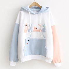 Japanese Embroidery Tiger Cute kawaii cat embroidery hoodie pullover - Color:white,pink,Size:one material:cotton.Tips: *Please double c Cute kawaii cat embroidery hoodie pullover Kawaii Pullover, Kawaii Sweater, Pullover Hoodie, Sweater Hoodie, Cute Hoodie, Hoody, Cute Casual Outfits, Girl Outfits, Fashion Outfits