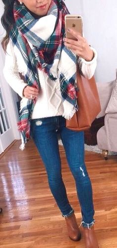 camel booties, jeans, cream sweater, blanket scarf