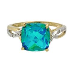 Diamond Cushion Cut Caribbean Quartz Gold Ring Jewelry Available Exclusively at Gemologica.com