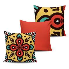 KIT com 3 Almofadas Decorativas Mandala 45x45cm - ALMAND005 - Pano e Arte