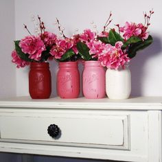4- Hand Painted Pint Mason Jar Flower Vases-Valentine Colors-Country Decor-Cottage Chic-Shabby Chic-French Chic via Etsy