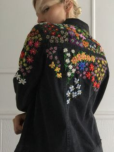 Embroiderwd jean jacket - Hand embroidered jean denim jacket brand: Forever 21 faded black denim with light stretch, pockets - Indian Embroidery Designs, Embroidery On Kurtis, Kurti Embroidery Design, Hand Embroidery Art, Embroidery On Clothes, Couture Embroidery, Shirt Embroidery, Embroidered Clothes, Embroidery Fashion