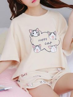 Pyjamas, Cozy Pajamas, Girls Fashion Clothes, Fashion Outfits, Clothes For Women, Cute Comfy Outfits, Cool Outfits, Cotton Sleep Shirts, Night Suit For Women