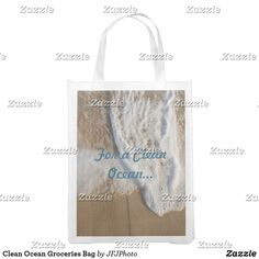 Shop Clean Ocean Groceries Bag created by JFJPhoto. Clean Ocean, Reusable Grocery Bags, Save The Planet, Carry On Bag, Folded Up, My Design, Cleaning, Purses, Fabric