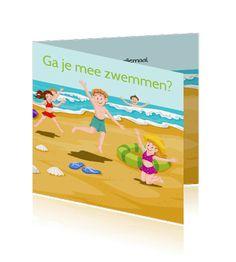 Een kinderfeestje of zwemfeestje aan het strand lekker zwemmen.