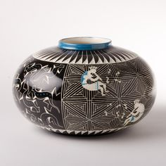 Black and Blue Kokopelli Pottery