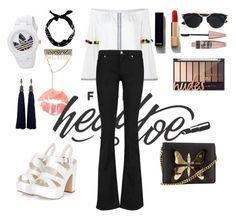 #monochrome#bootcut#trumpetsleeve#adidas by unafebun on Polyvore featuring polyvore fashion style Pitusa M.i.h Jeans Gucci Shourouk Lanvin adidas Christian Dior New Look Chanel Maybelline clothing