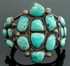 Turquoise Navajo Bracelet Large Sterling Silver by SITFineJewelry