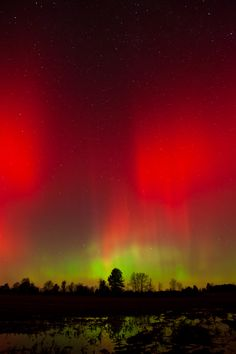 Intense red is more unusual than the generic green aurora