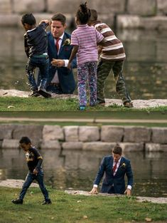 A groom saves a boy from drowning during his wedding photoshoot #funny #memes #jokes