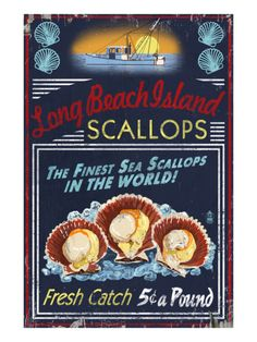 Long Beach Island, New Jersey - Scallops Prints by Lantern Press at AllPosters.com