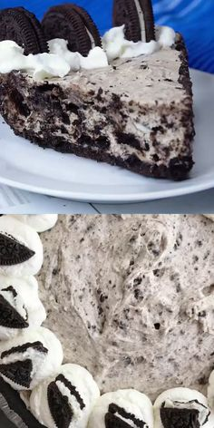 This Oreo cream pie is no bake with only 6 ingredients. Oreo cookie crust filled with a creamy Oreo filling that's loaded with Oreo chunks. Oreo Dessert Recipes, Fun Baking Recipes, Easy Desserts, Sweet Recipes, Snack Recipes, Easy Oreo Recipes, Oreo Cookie Desserts, No Bake Desert Recipes, Recipes With Oreos