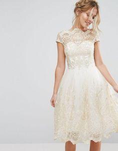 Chi Chi London | Chi Chi London Premium Metallic Lace Midi Prom Dress with Bardot Neck
