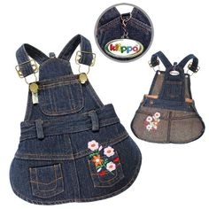 Amazon.com : Cute Denim Dog Dress with Embroidered Flowers and Pockets Sizes: Small : Pet Dresses : Pet Supplies
