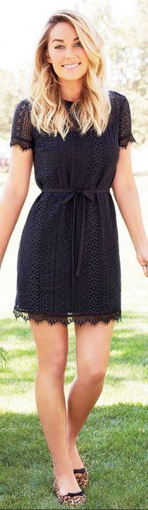 Lauren Conrad, black lace dress
