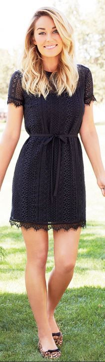 Lauren Conrad, black lace dress