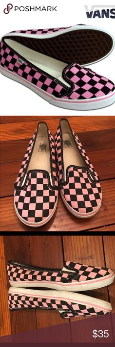 Pink and Black Checkered KVD Vans RARE!!!!! SOLD OUT EVERYWHERE!!! Pink and black KVD vans. I've worn these a handful of times. Sooo comfortable!! They need to be cleaned a bit on the rubber and a mark on back that can also be cleaned. Love these but don't wear enough. Very hard to find shoes!! Vans Shoes Flats & Loafers
