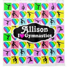 PRETTY HEART GYMNAST PERSONALIZED SHOWER CURTAIN Calling all Gymnasts! Enjoy the best selection of personalized Gymnastics Home Decor from Zazzle.  Not available in stores! http://www.zazzle.com/mysportsstar/gifts?cg=196751399353624165&rf=238246180177746410   #Gymnastics #Gymnast #Gymnastgift #Gymnastgirl #PersonalizedGymnast #GymnasticsDecor