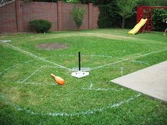 This isn't Iowa. We're not corn farmers. And, my husband isn't Kevin Costner. But for some reason, he decided that we needed a mini base. Backyard Sports, Backyard Baseball, Baseball Party, Baseball Field, Baseball Stuff, Backyard Playground, Backyard Games, Dodgers Party, Drake's Birthday