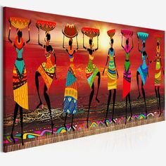 Cuadros Etnicos Tribal African Women Dancing Canvas PrintYou can find Tribal art and more on our website. African Wall Art, African Art Paintings, Tribal African, African Women, Tribal Women, African Drawings, African Prints, African Style, African Fabric