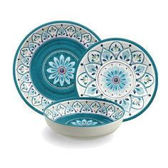 Moroccan Medallion 12 Piece Melamine Dinnerware Set
