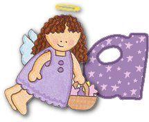 Alfabeto angelita repartiendo estrellas.   Oh my Alfabetos!
