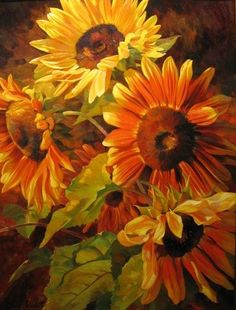 Sunflowers with Rich Colors by Leon Roulette