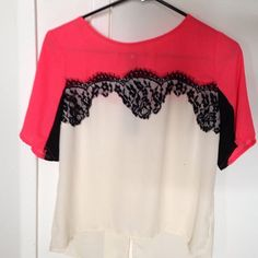Coral black lace top Coral with black lace and beige bottom top with back zipper Xhilaration Tops